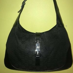 Gucci Black Guccissima Canvas Monogram Leather Bag
